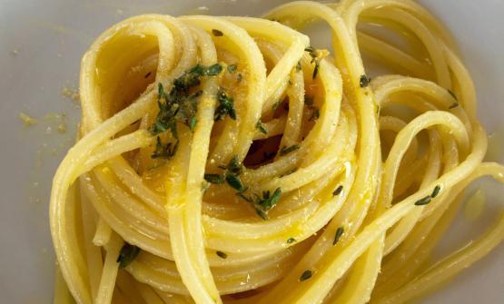 Spaghetto di Kamut Felicetti conriduzione d'arancio, timo,zenzero e olio Kiki, piatto cucinato dal principe