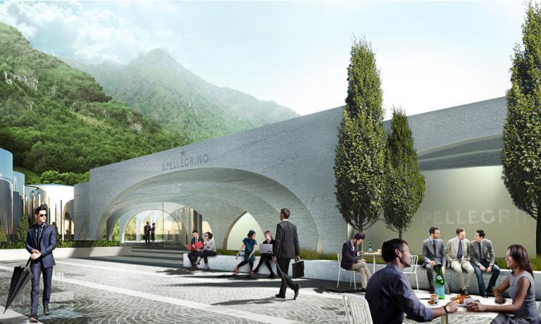L'arco sarà l'elemento dominante della rinnovata sede della S.Pellegrino, a San Pellegrino Terme