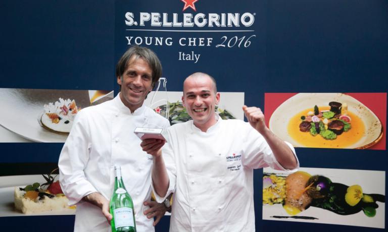 Alessandro Salvatore Rapisarda col suo mentore alla S. Pellegrino Young Chef, Davide Oldani