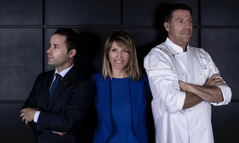 Il maître Daniele Molinaro, la proprietaria Francesca Poli e lo chef Terry Giacomello
