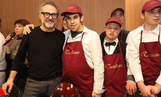 Massimo Bottura with his son Charlie, at Refet