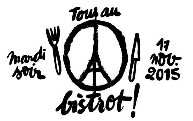 """Il disegno della Torre Eiffel che diventa simbolo della pace,creato dal graphic designer Jean Jullien, è diventato il logo di """"Tous au bistrot"""", iniziativa lanciata dalla guida Le Fooding per invitare tutti i parigini a riempire i ristoranti lo scorso martedì sera"""
