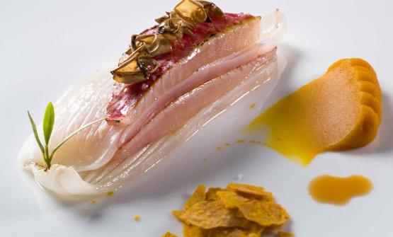 Triglia e calamarodel mar Ligure con zucca mantovana, uno dei piatti di Negrini-Pisani (foto Adriano Mauri per ItalianGourmet)