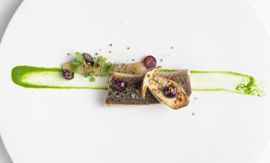 Filetto di trota fario, mosto d'uva, polline: