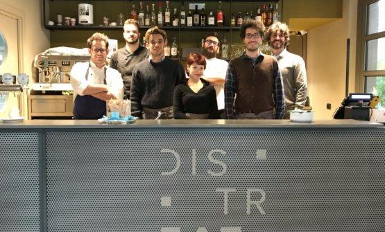 I ragazzidiDistreat. Da sinistra:Federico Sordo,Gabriel Urgese,Nicola Mamo,Beatrice Perin,Andrea Tirelli,Davide Aru,Guido Dossena