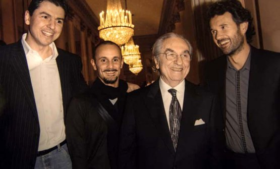 Marchesi con suoi tre celebri allievi: Berton, Crippa e Cracco