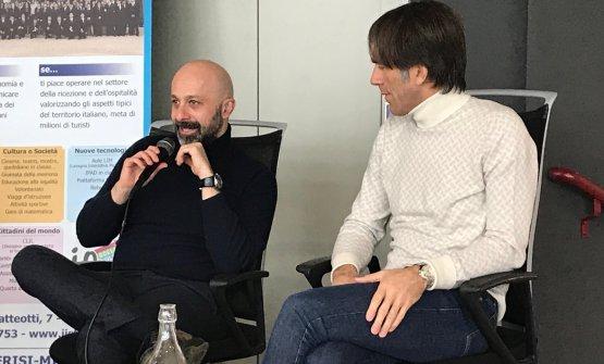 Niko Romito e Davide Oldani durante l'incontro all'Istituto Olmo di Cornaredo