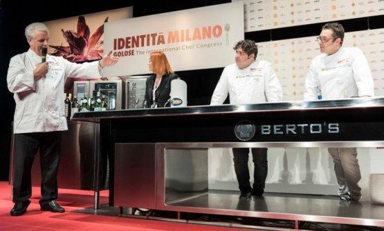 Massaria Identità Milano 2017 con due suoi allievi,Gianluca FustoeFabrizio Galla