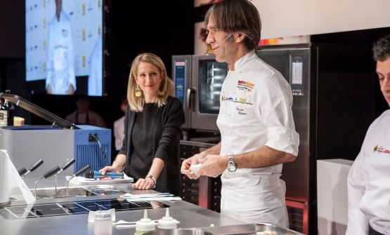 Davide Oldani con Tarsia Trevisan, presentatrice della mattinata in Auditorium