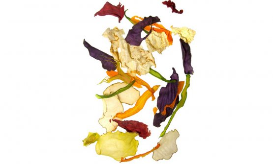 """2007:Dried VegetablesfromCarlo Cracco  Electing a dish as the emblem ofIdentità Milanowas a novelty for the 3rd edition of the congress, in 2007. And of course it had to be a dish fromCarlo Cracco, the chef who, together withPaolo Marchi, had initially thought of creating this festival when, in 2004 (that is to say the year before the debut at Palazzo Mezzanotte), the two of them met atMadrid Fusion. It's made with naturally dried vegetables: at the restaurant in Via Victor Hugo they were presented in a plastic box with the """"Carlo Cracco – Ristorante in Milano"""" logo, and it looked like it held a sort of potpourri. A pleasure for the eyes and the nose; an equally pleasant surprise for the palate, a concentrate of flavours in the shape of very thin and crispy strips of vegetables"""