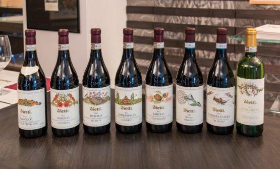 Alcuni dei vini prodotti dall'azienda