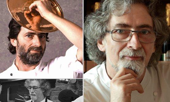 Tre immagini, di varie epoche, diVittorio Fusari. Il grande chef franciacortino è venuto a mancare proprio ieri