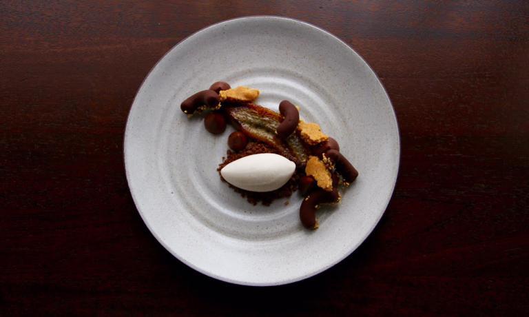 Un altro dessert firmato Welker, a base di cioccolato e banana (foto EMP)