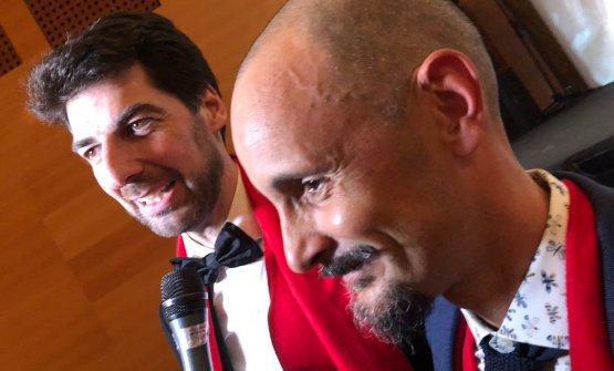 Da sinistra, Massimiliano Alajmo -che conLe Calandredi Rubano (Padova) ha guadagnato 6 posizioni arrivando al 23esimo posto - ed Enrico Crippa, il suo Piazza DuomodiAlba (Cuneo), 16esimo, perde una posizione rispetto all'anno scorso