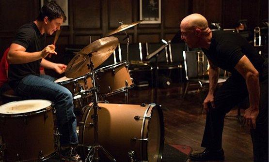 Il premio Oscar J.K.Simmons, a destra in Whiplash, pellicola del 2014