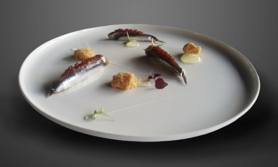 Alici di Cetara affumicate, caviale di colatura, gelèe alla Birra Moretti e meringa di pane croccante, diAlberto Francesco Wengert