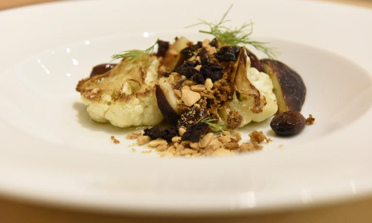 Lee Wolen's cauliflower, roasted and served with olives, oregano and figs