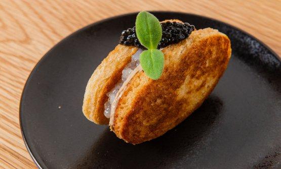 Sandwich di scampi, caviale e foie gras
