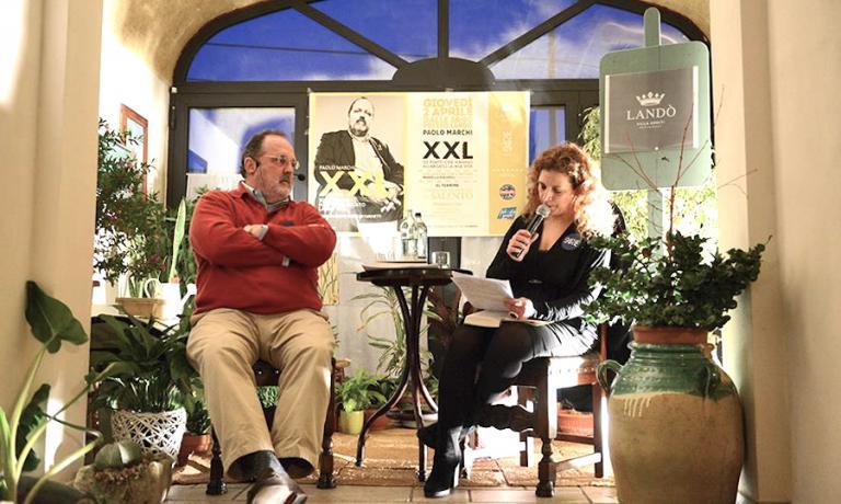 Con la giornalista Mariella Piscopo alla presentazione a Presicce il 2 aprile