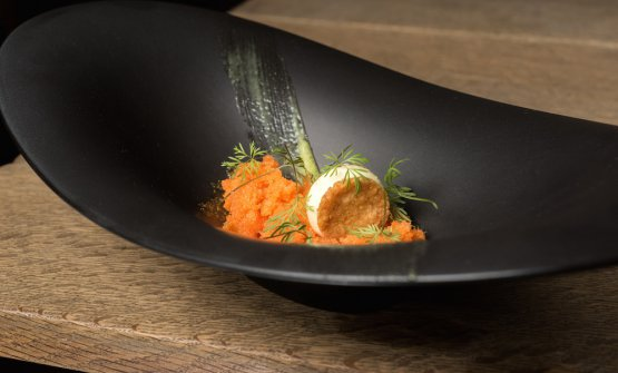 Carrot granita, lime, dill, oats and ginger