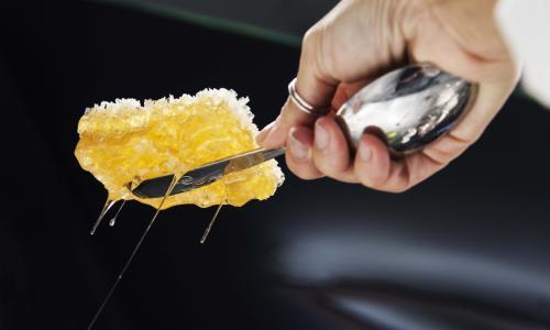 Lo scatto di Francesca Brambilla e Serena Serrani immortala la mano di Cristina Bowerman mentre estrae il favo di miele. La cuoca puglieseè Ambassador di Expo Milano 2015 e il miele è il suo ingrediente simbolo