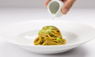 Spaghetto anemoni e sakè