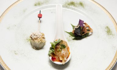 Left to right, Foie gras and kimchi, baek kimchi and bugak, the triple entrée presented by Mingoo Kang, chef at restaurant Mingles in Seoul, on the occasion of the national day of South Korea at Expo, organised on 23rd June by the Korean Food Foundation inside hotel Principe di Savoia in Milan