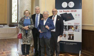 Renata ed Ezio Santin, premio alla carriera, con Mario Cucci e Claudio Sadler
