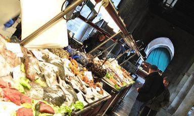 """Bancarelle del pesce al Mercato di Rialto a Venezia: già 900 anni tra i pescatori fa ci si domandava della liceità di certa pesca. La lunghezza minima delle varie specie di pesci può determinare infatti i destini della popolazione dei mari: a questo serve ildecreto 1967/2006, detto """"Decreto Mediterraneo"""" (foto Vasile)"""