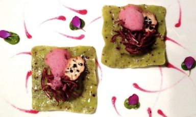 Broad beans ravioli with smoked almond curd aromatised with olive tree and red onions with notes of hibiscus by Daniela Cicioni - a dish with smoky, bitter and tart notes and spring scents