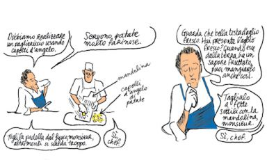 A scene taken from the storyboard of In the kitchen with Alain Passard by Christophe Blain, published in Italy by Bao Publishing, 88 pages, 15 euros (the English version was published last year by Chronicle Books). This graphic novel sheds some light on one of the greatest (and wariest) chefs in the world - since 1986 at the helm of restaurant Arpège in Paris, 3 Michelin stars. It also contains 14 unpublished recipes