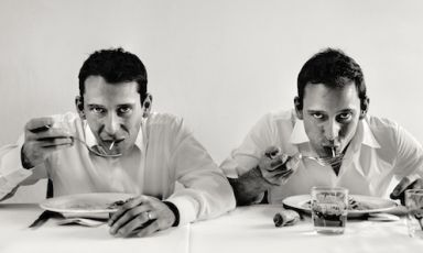 "Andrea and Luca Garelli, twin brothers and waiters at Osteria Francescana in Modena, portrayed by Swedish photographer Per-Anders Jörgensen, author of the reportage-book ""Eating with the chefs"", published by Phaidon. Using Jörgensen's words ""this is a tribute to all the people who work 18 hours per day in order to satisfy us clients with innovative dishes"""