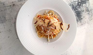 L'Amatriciana di lago proposta a Identità di Pasta dal giovanissimo Denny Manzoni, cuoco della Piazzetta di Montevecchia (Lecco)