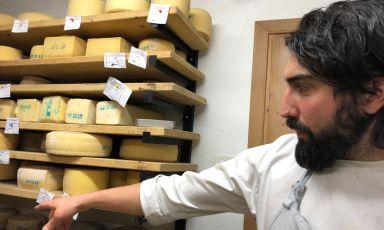 Ricky Gaspari, chef del Sanbrite di Cortina d'Ampezzo (Belluno), nel locale di affinamento dei formaggisotto al ristorante. E' il penultimo passaggio del menu degustazione Latte, un percorso intelligente nelle trame di un ingrediente bistrattato