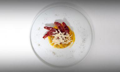 """Gnocchi, crema di zucca e speck d'anatra: è l'ultimo dei """"piatti del mese"""" presentati da East Lombardy nello spazio dedicato all'interno dell'aeroporto di Bergamo Orio al Serio, Winegate 11"""