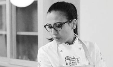 A close up of Colombian chef Maria De La Paz. At 1