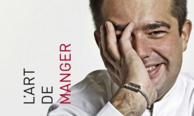 "A detail of the cover of Jean-François Piège's book ""L'art de manger"", published by Autrement in May 2013. You can buy it here. At the helm of Thomieux, which is a brasserie on the ground floor and a gourmet restaurant on the first floor, 43-year-old JFP is one of France's great chefs"