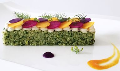 The raw cauliflower Terrine with herbs and almond curdle by Daniela Cicioni, a light and full of taste raw-diet solution for New Year's Day dinner (and after). Photo by Livia Sala