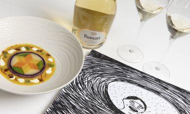 Disordine apparente nel mondo delle bollicine e alta cucina con l'artista David Shrigleye lo chefPaolo Griffa per un racconto inedito ispirato agli champagne Ruinart