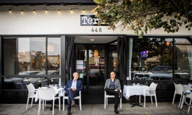 Maico and Franco Campilongo in front of their famous Terùn in Palo Alto, California. The two are now in quarantine, but they will be back in Italy in July for Identità Golose 2020