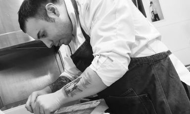 Gennaro Olivieroat work in the kitchen of his restaurant,Toca, in Helsinki