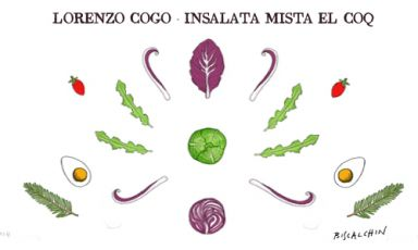Radish, cabbage, savoy cabbage, kale leaves, cabbage leaves, cherry tomatoes: lots of great vegetables inside the mixed salad of Lorenzo Cogo, chef of El Coq in Marano Vicentino (Vicenza), +39.0445.1886367