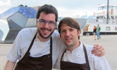 Fabrizio Ferrari, born in 1980, chef and patron at the Porticciolo 84 in Lecco, portrayed in Copenhagen with René Redzepi during his two weeks' experience at Noma, in January 2010