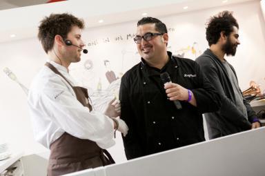 """La seconda coppia: Lorenzo Cogo, chef patron del ristorante El Coq a Marano Vicentino, e Roy Paci, trombettista, compositore e """"gastrofonico"""""""
