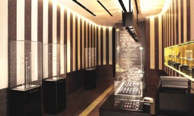 La sala riservata alla vendita di cioccolato artigianale del Caffé Bulgari Omotesando di Tokyo, uno spazio in cui il maitre chocolatier Miura Naoki sperimenta arditi abbinamenti con tè di grande fattura