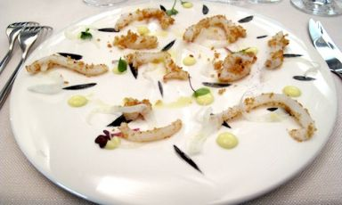 Porto Santo Spirito Squid tagliatelle (breaded, non cooked) with lemon, fennel and squid ink cream, by Neapolitan chef Antonio Borruso of Gimmy's, in Passo dell'Aprica (Sondrio), +39.0342.747048, a dish on the menu of the dinner presented by the chefs from Valtellina who are members of the Chic, Charming Italian Chef association