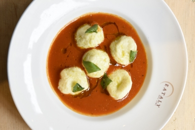 Goat Cheese Gnudi with Tomato Soup by Mario Batali
