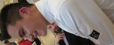 Una singlolare immagine a incastro tra Enrico Panero, chef del Marin, il ristorante di Eataly a Genova, e Gianluca Biscalchin, autore e illustratore