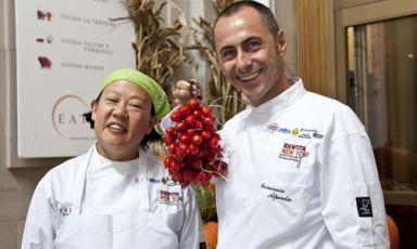 Anita Lo, cuoca sino-americana di Annisa a New York e Francesco Apreda, chef dell'Imago dell'Hotel Hassler di Roma(foto Francesca Brambilla e Serena Serrani)