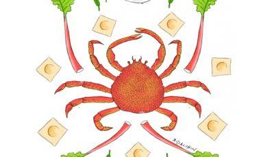 Ravioli farciti con granseola e salsa aromatizzata al rabarbaro di Antonio Guida, chef del Pellicano di Porto Ercole (Grosseto)